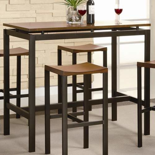 Atlus Counter Height Contemporary Black Metal Table With