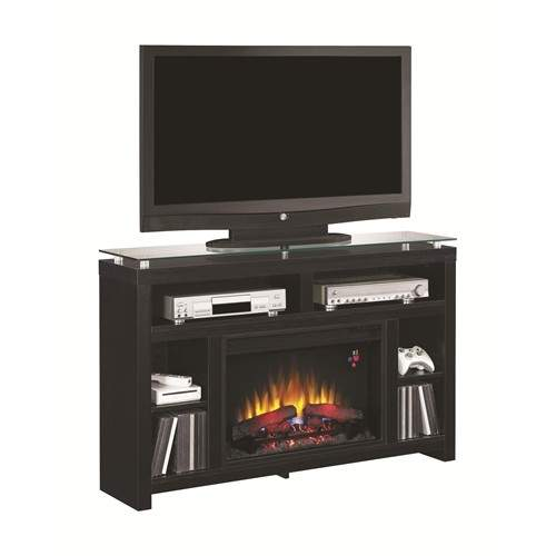 fireplaces contemporary black media console fireplace