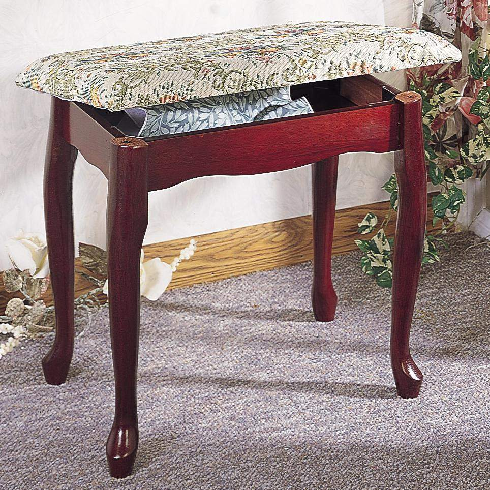 Foot Stools Cherry Finish Upholstered Vanity Stool Bench With Lift Top Storage Quality
