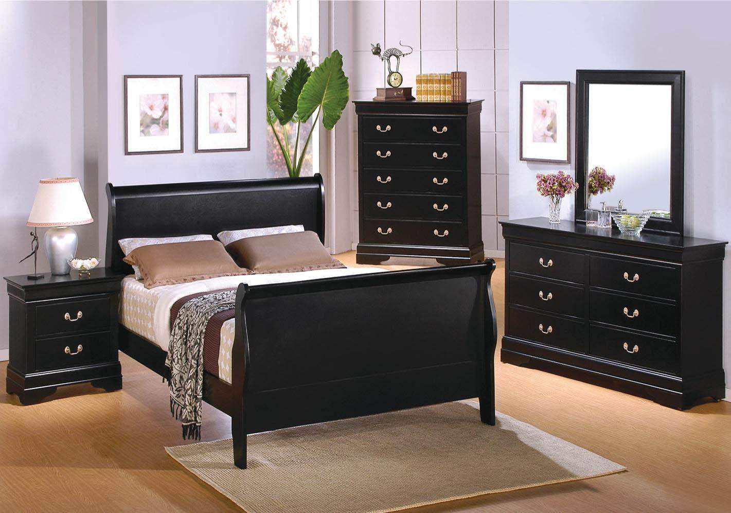 Louis Philippe 4 Piece Bed Set Deep Black Quality Furniture At Affordable Prices In