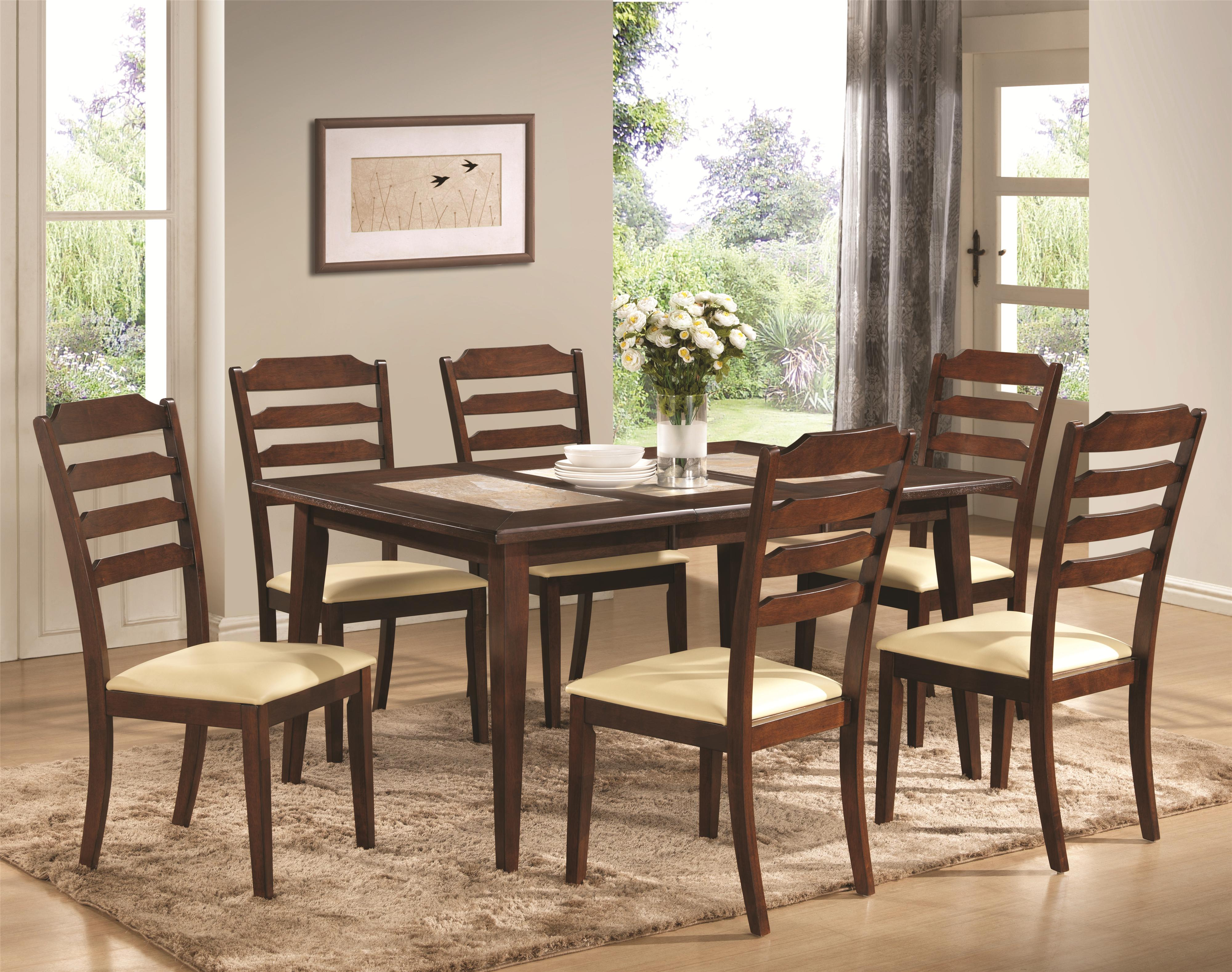 Baker 7 Piece Dining Set With Rectangular Table And Ladder Back Chairs With U