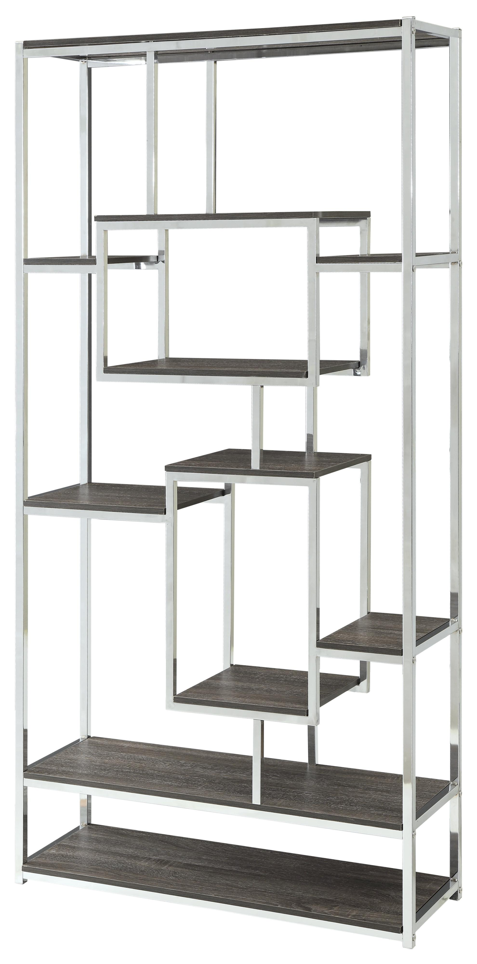Bookcases Contemporary Metal Frame Bookcase With Weathered