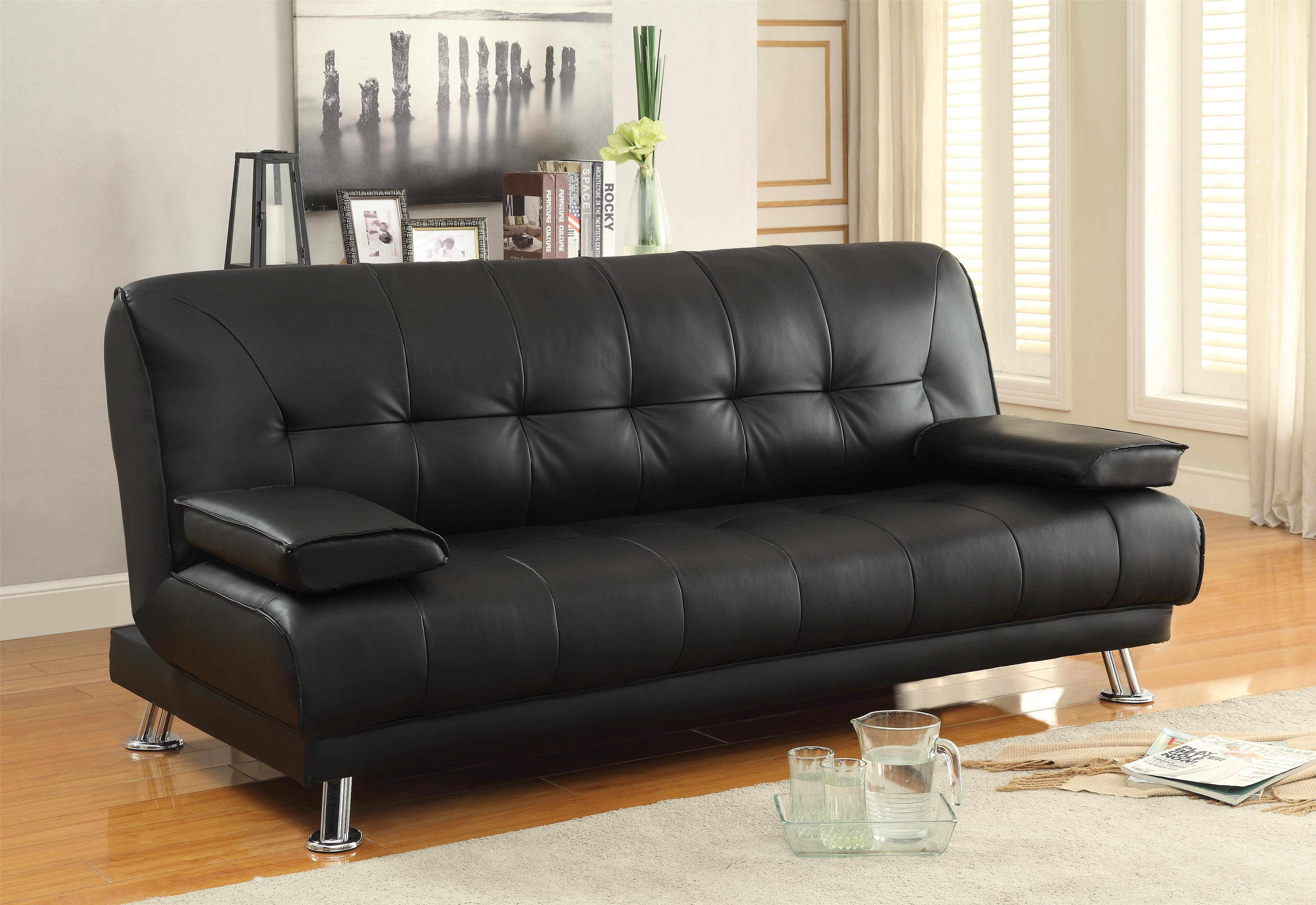 Sofa Beds and Futons Faux Leather Convertible Sofa Bed with Removable