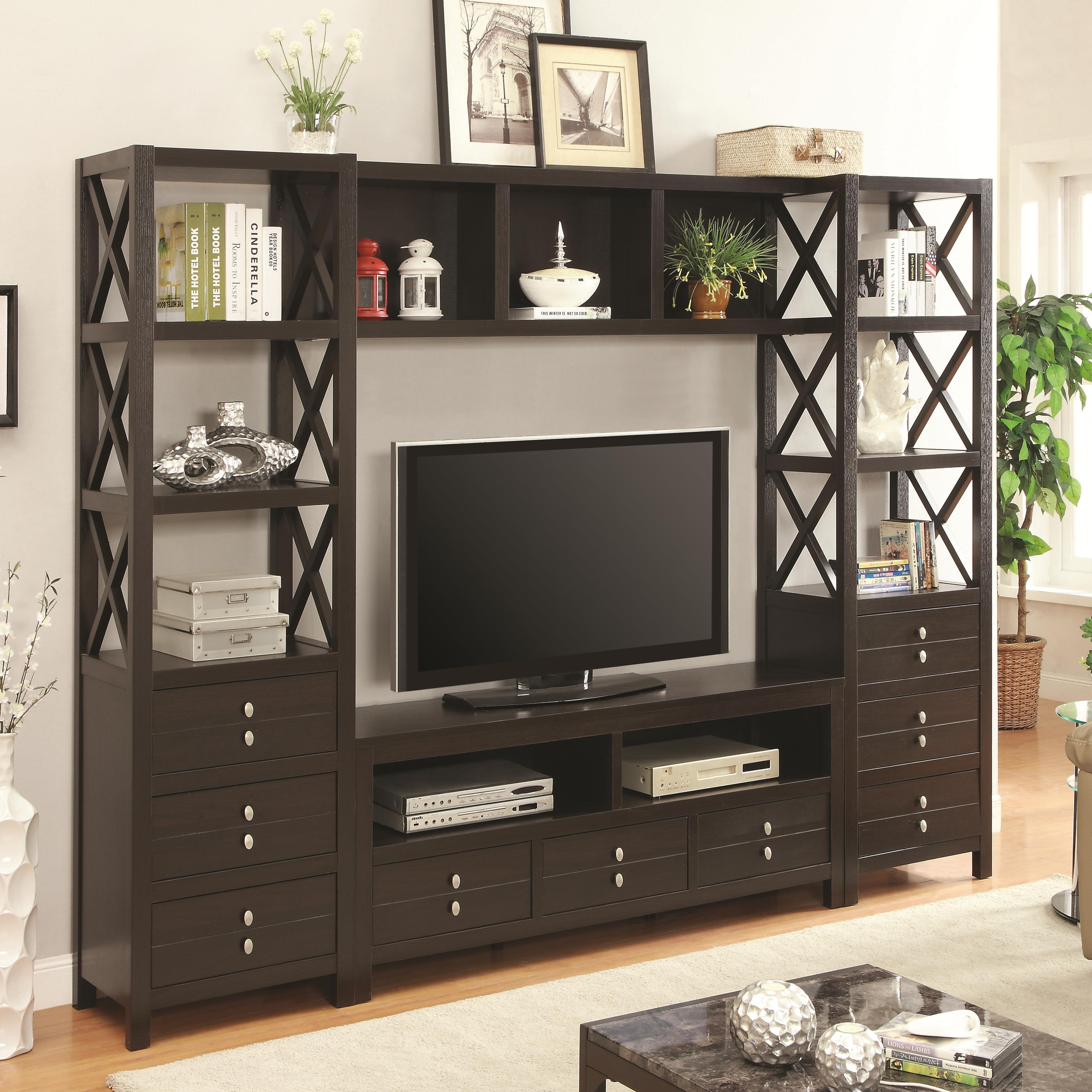 Wall units entertainment wall unit with 9 drawers and 9 for Affordable quality furniture