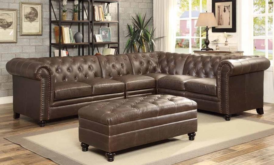 Roy brown leather traditional sectional with tufted rolled for Traditional tufted leather sofa