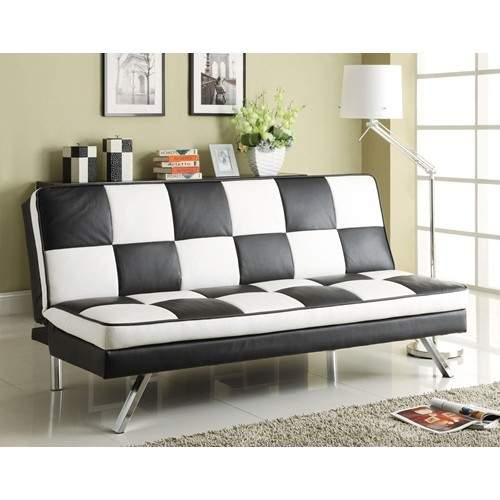 Click Clack Retro Faux Leather Checked Sofa Bed