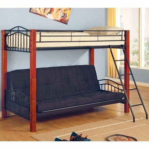 Wood Casual Twin Over Futon Bunk Bed