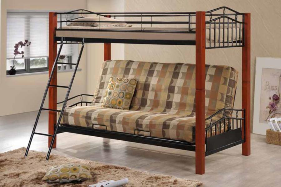 Haskell Metal And Wood Casual Twin Over Futon Bunk Bed