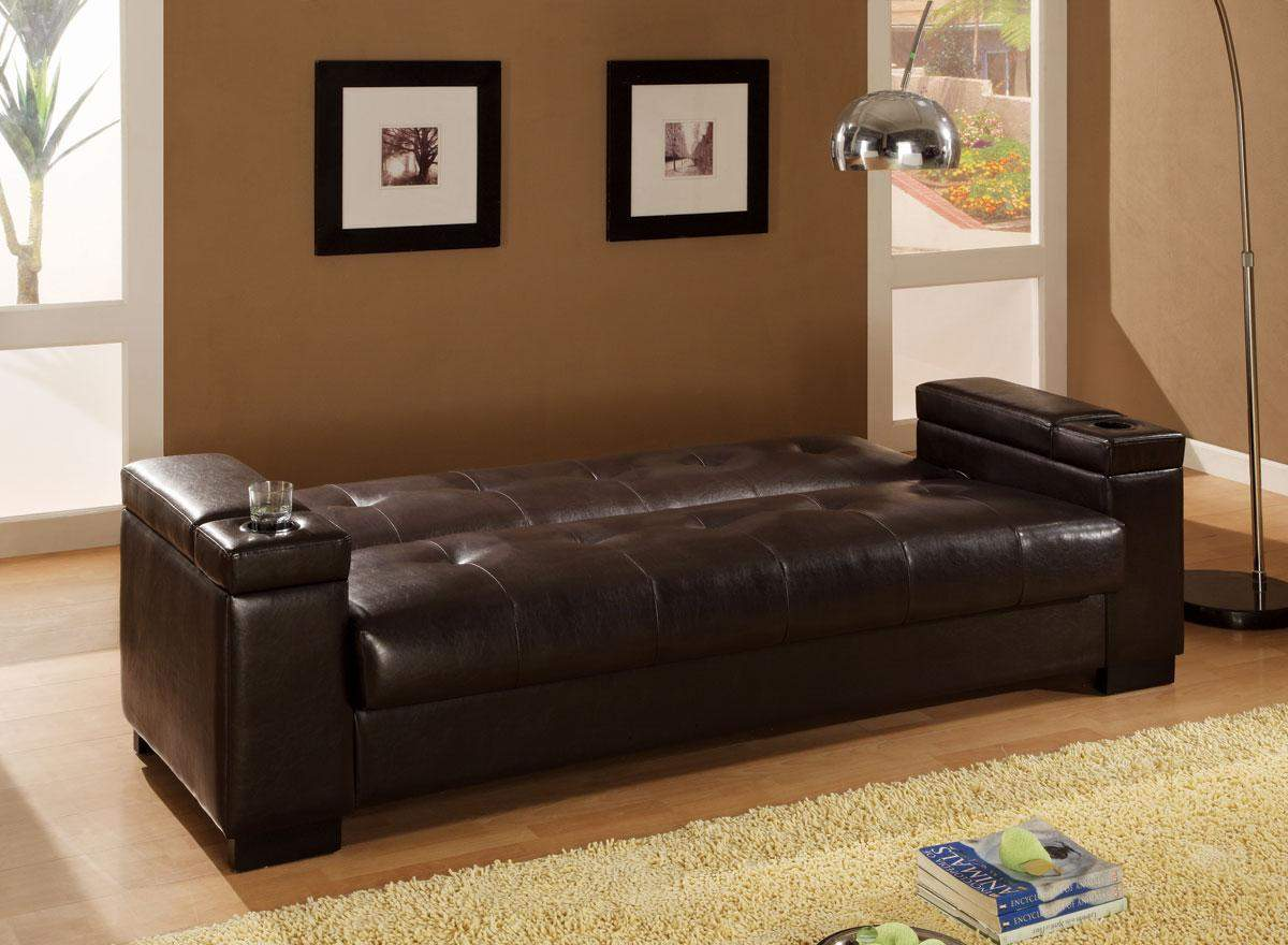 Sofa Beds Faux Leather Convertible Sofa Sleeper With Storage Quality Furniture At Affordable