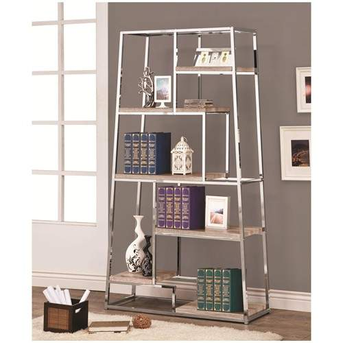 Bookcases Tapered Chrome Bookshelf With Staggered Wood
