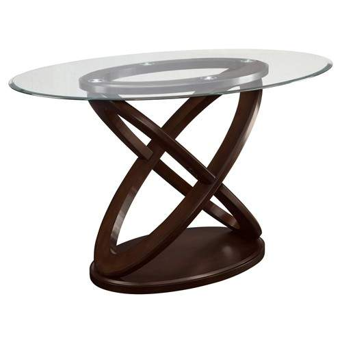 Daphne Counter Height Table With Oval Tempered Glass Top