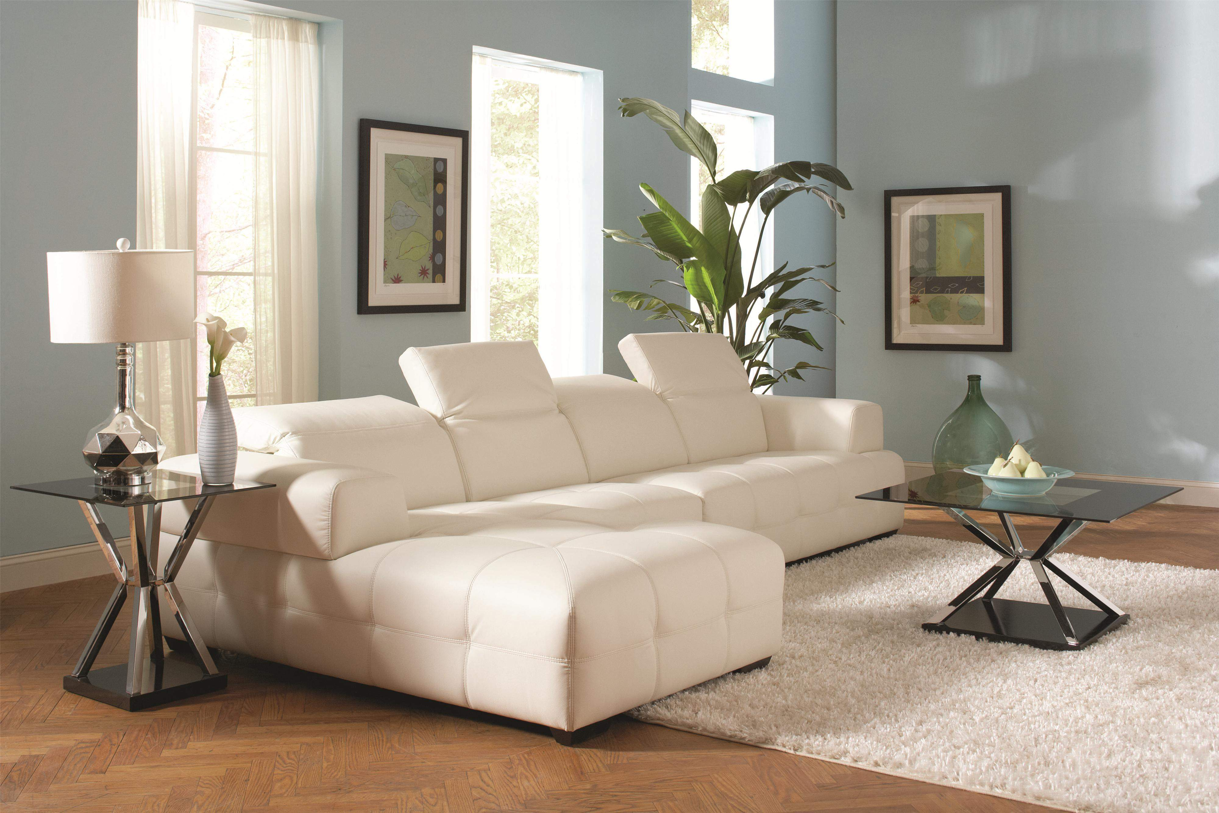 Darby Contemporary Sectional Sofa with Wide Chaise and Adjustable ...