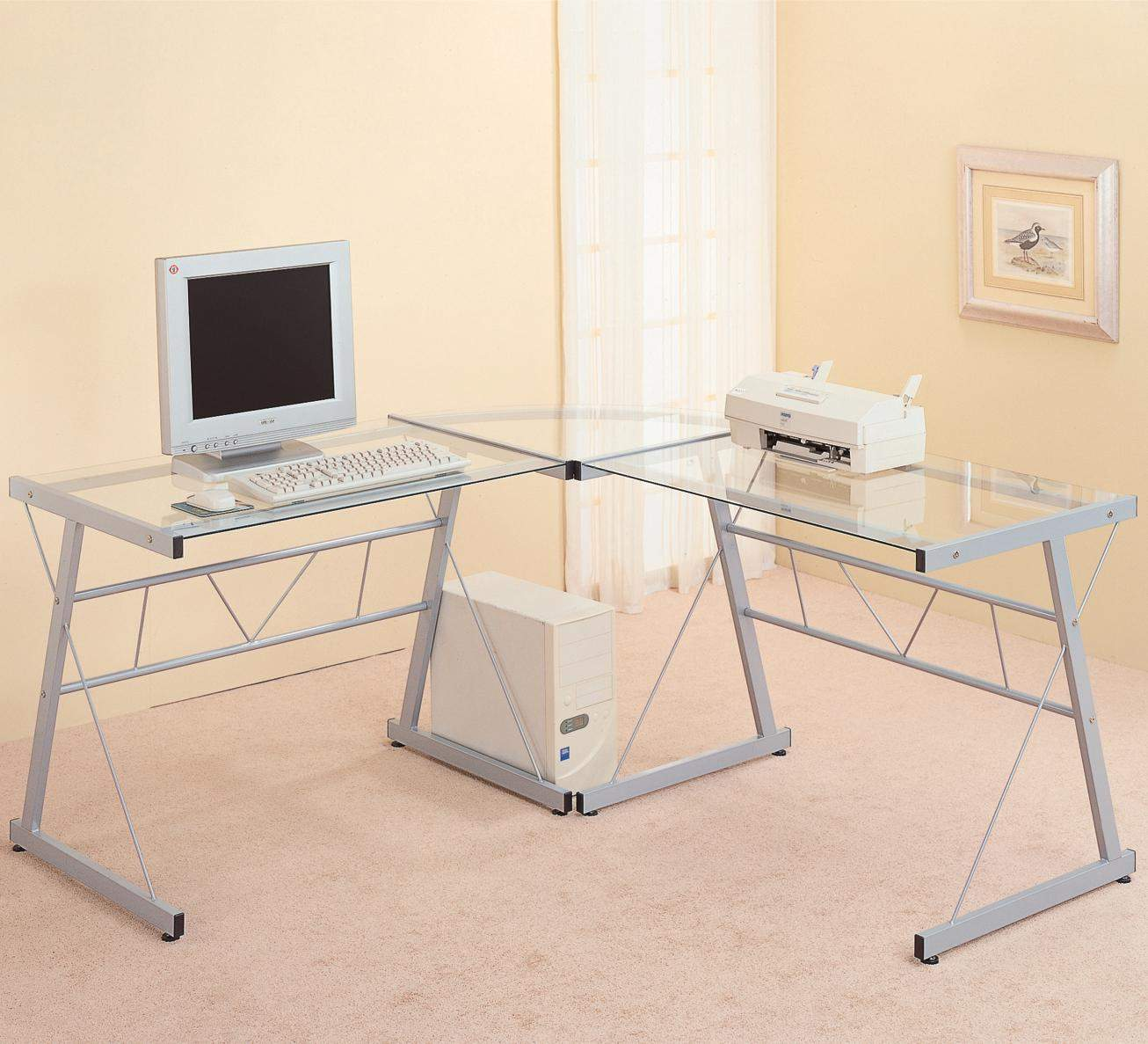 Desks Contemporary Metal L Shaped Desk With Glass Top