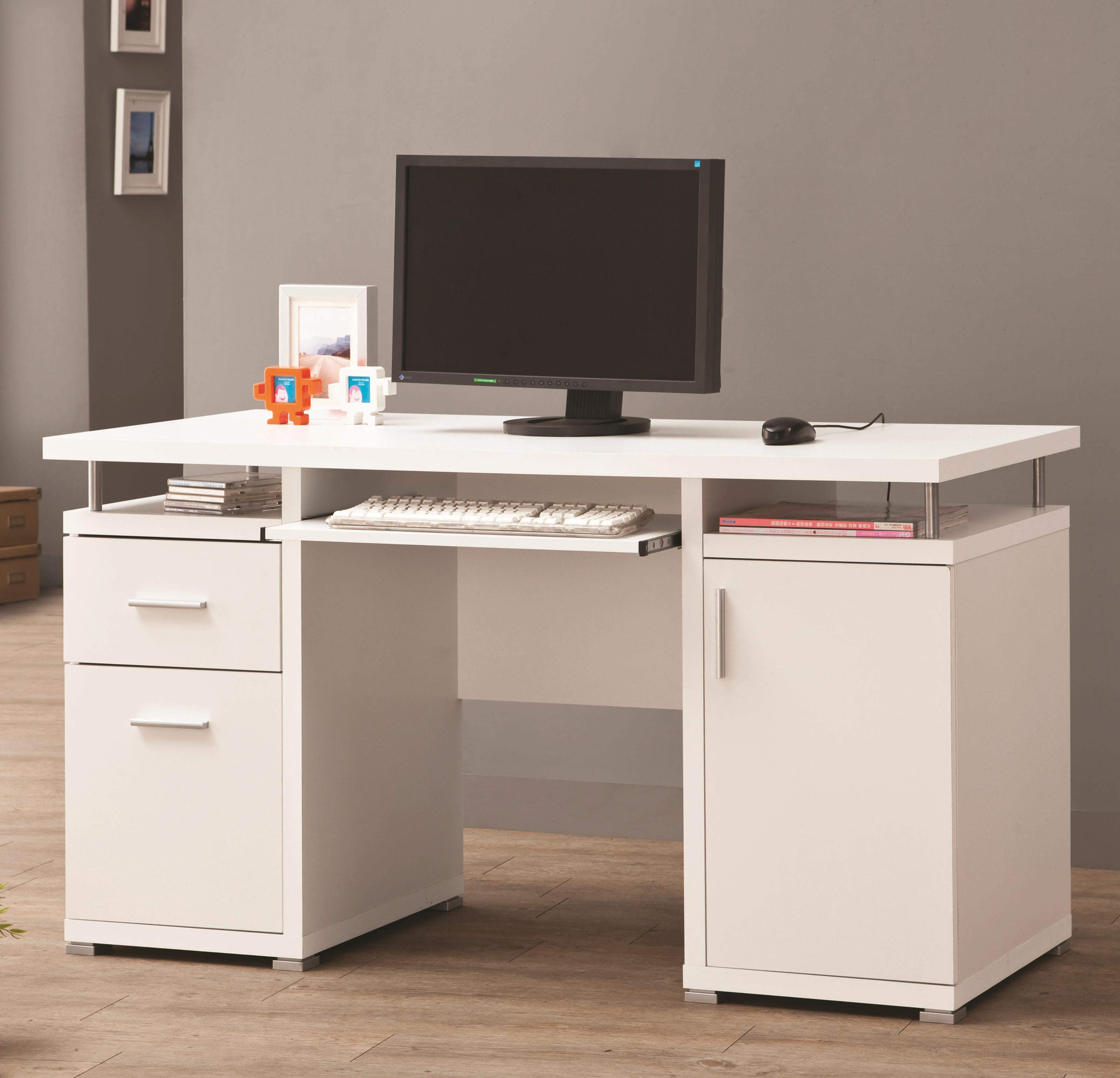 Desks White Computer Desk with 42 Drawers & Cabinet