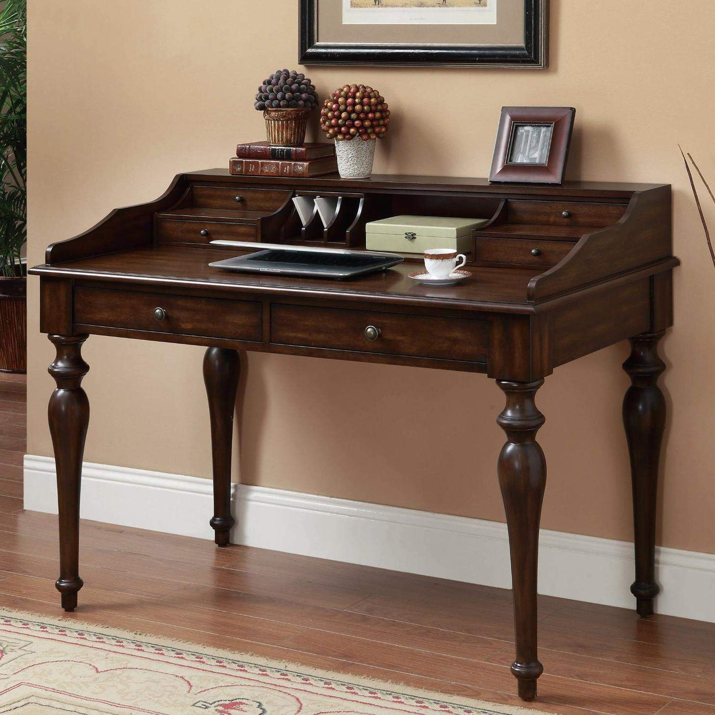 Desks Traditional Writing Desk With 6 Drawers Quality
