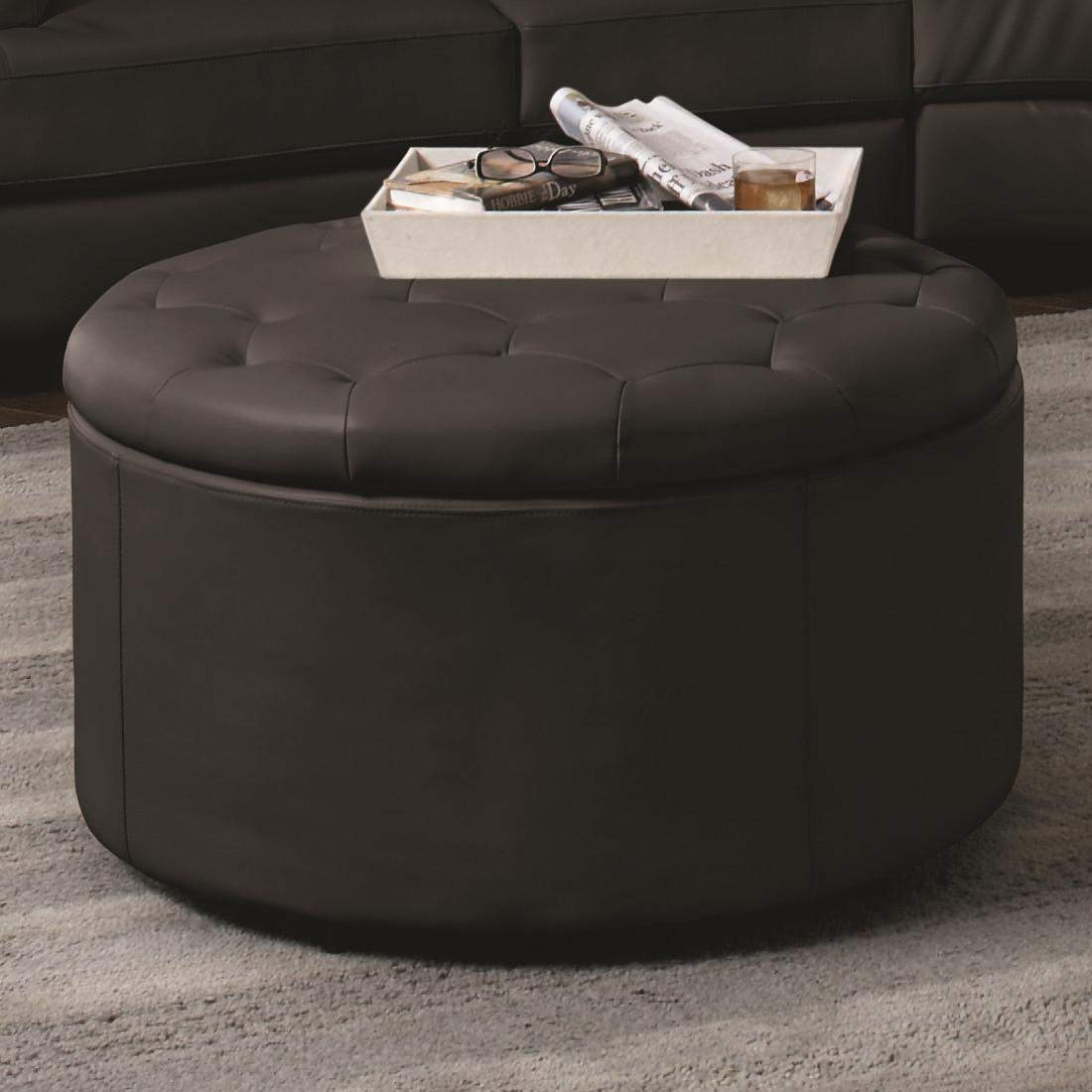 Landen Bl Round Leather Storage Ottoman With Button Tufted