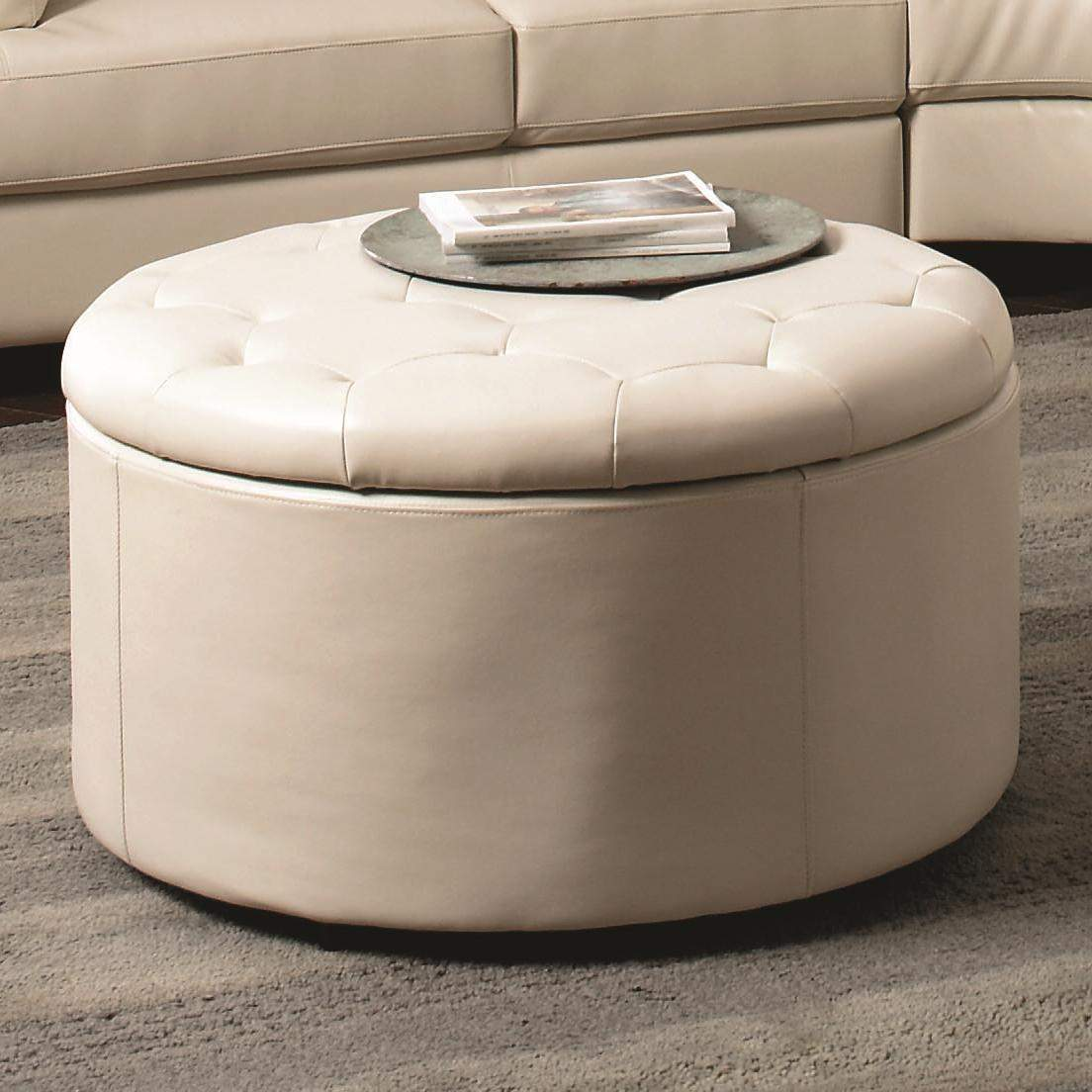 Landen Round Leather Storage Ottoman With Button Tufted Seat Quality Furniture At Affordable Prices In Philadelphia Main Line Pa