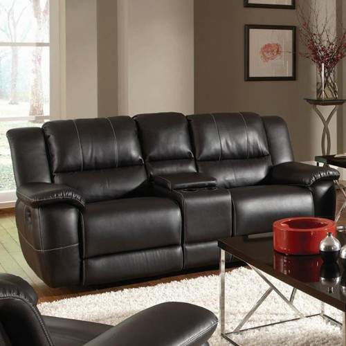 B751 Transitional Reclining Sectional With Storage Console: Lee Transitional Double Reclining Gliding Love Seat With