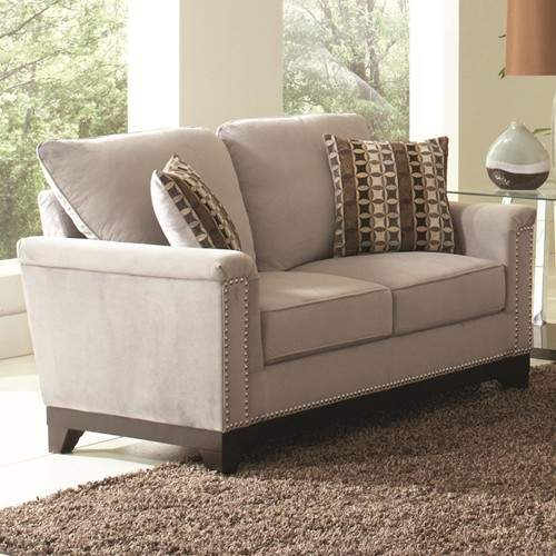 Mason White Leather Sofa: Mason Velvet Love Seat W/ Nailhead Trim