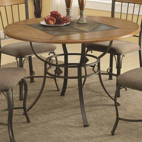 1207 Round Dining Table With Metal Legs And Wood Top Inlaid With A Slate Look Center