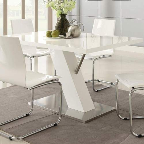 Modern Dining Contemporary White Dining Table With Angled