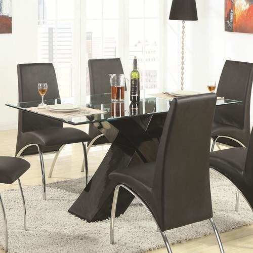 Ophelia Contemporary Glass Top Dining Table With Black X Pedestal Quality Furniture At Affordable Prices In Philadelphia Main Line Pa