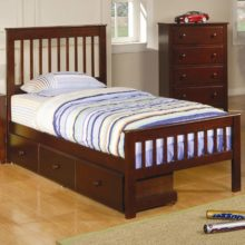 parker twin slat bed with underbed storage drawer unit