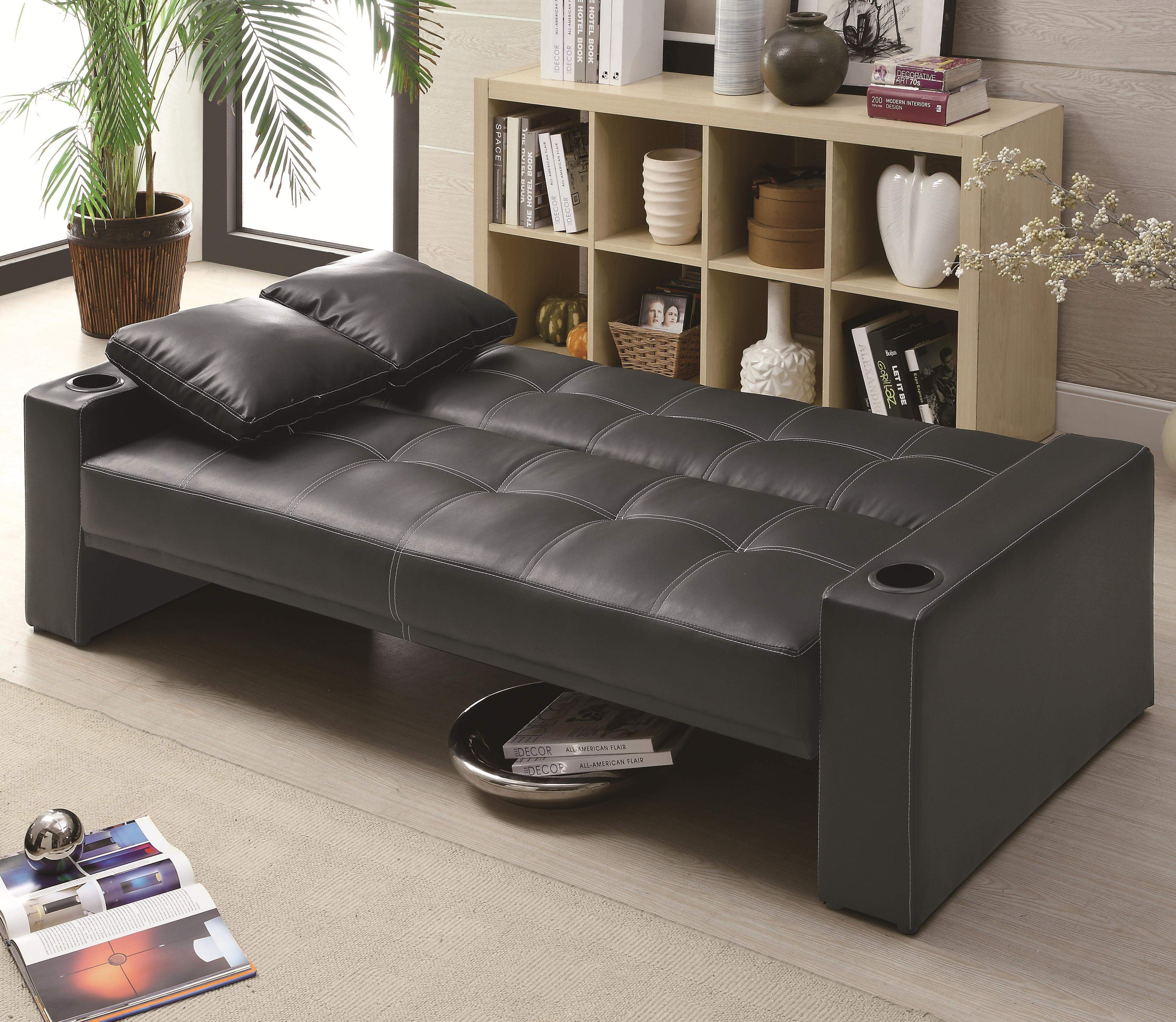 Modern Contemporary Futon Sofa Sleeper With Built In Cup