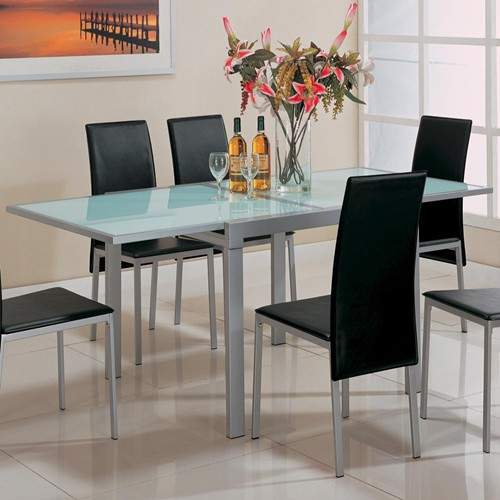 sunrise frosted glass dining table with metal extensions quality furniture at affordable. Black Bedroom Furniture Sets. Home Design Ideas