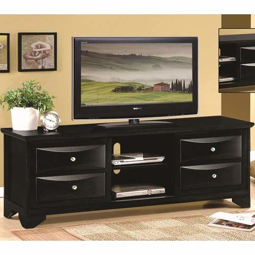 Gentil TV Stands Black TV Stand With Chambered Drawer Fronts