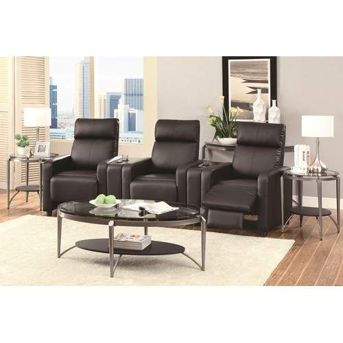 Toohey Contemporary 5 Piece Reclining Home Theater Seating With Console Table