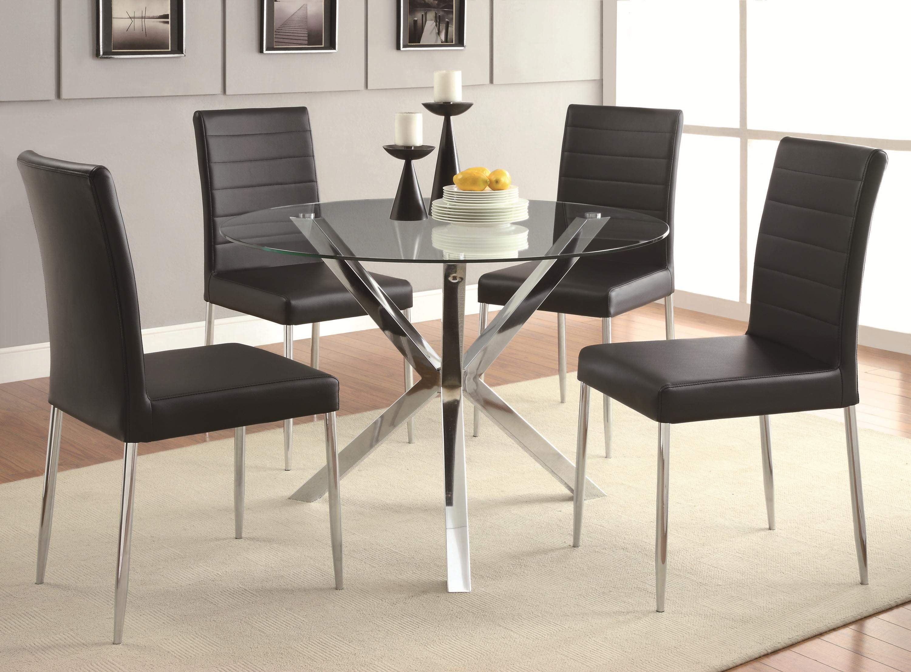 Vance Contemporary Glass Top Dining Table With Unique Chrome Base Quality Furniture At Affordable Prices In Philadelphia Main Line Pa