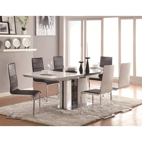 White Dining Room Table Set: Broderick Contemporary 5 Piece White Dining Table Set With