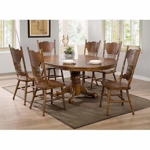 Brooks 7 Piece Table Set With Oak Finish Round Oval Table Quality Furniture At Affordable Prices In Philadelphia Main Line Pa