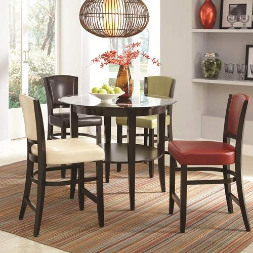 Dining 1036 5 Piece Pub Table & Upholstered Stool Set