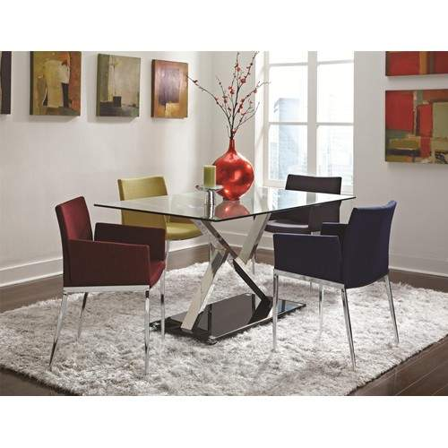 Dining 120 5 piece glass top table upholstered dining for Best quality upholstered furniture