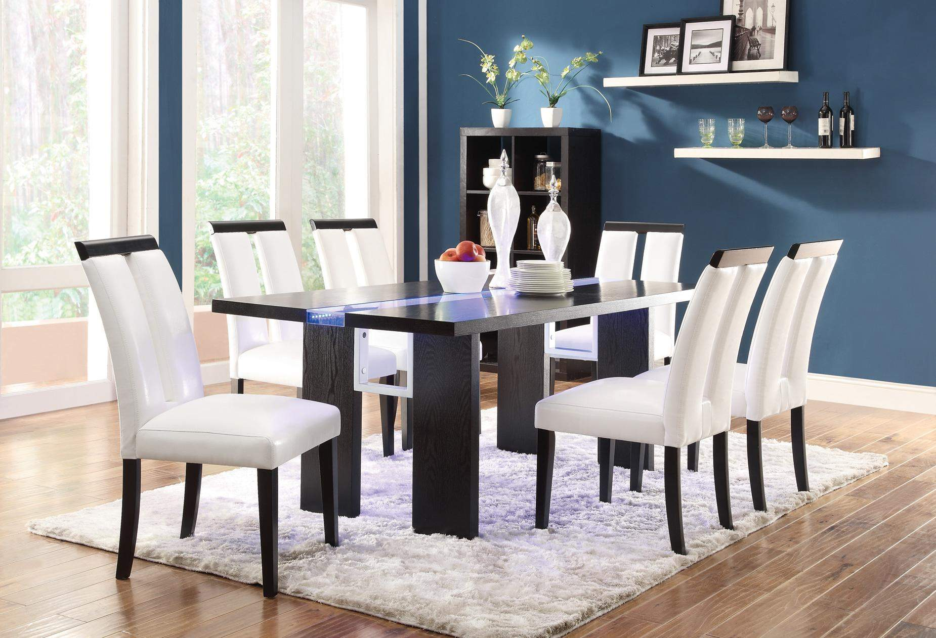Kenneth 7 Piece Set With LED Lit Dining Table