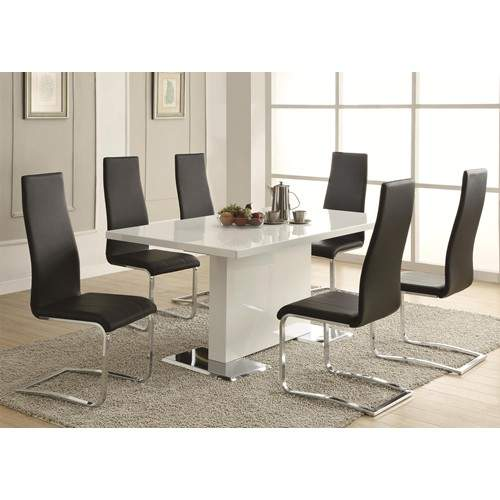 White Dining Room Table And Chairs: Modern Dining 7 Piece White Table & Black Upholstered