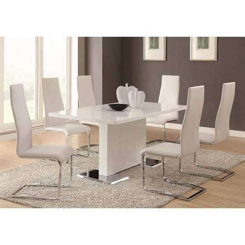 Modern dining 7 piece white table white upholstered for Modern white dining room chairs