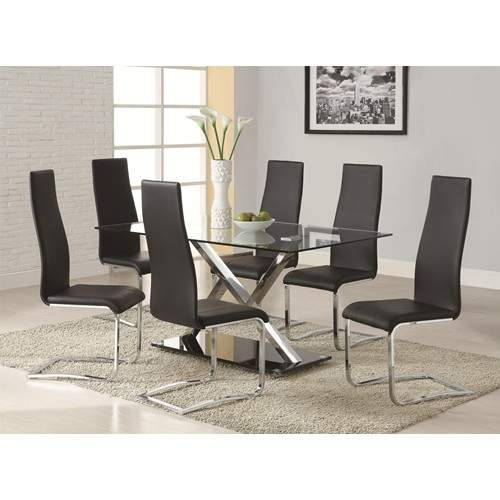 Modern Dining 7 Piece XY Table & Black Upholstered Chairs