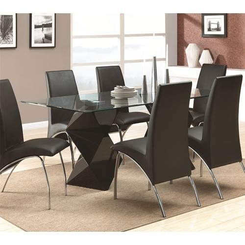 Ophelia Contemporary 7 Piece Dining Set With Rectangular Glass Top Table Qu