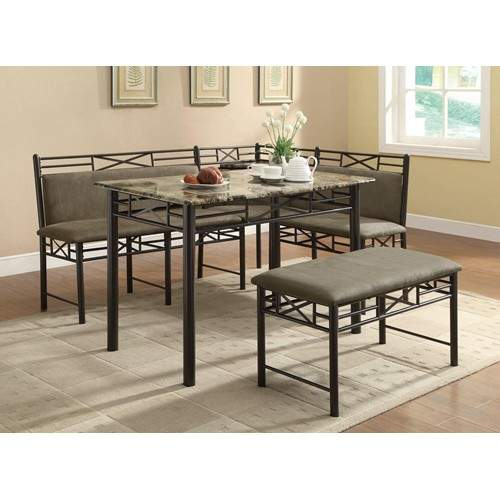 Slater 3-Piece Corner Nook Dining Set With Faux Marble Top