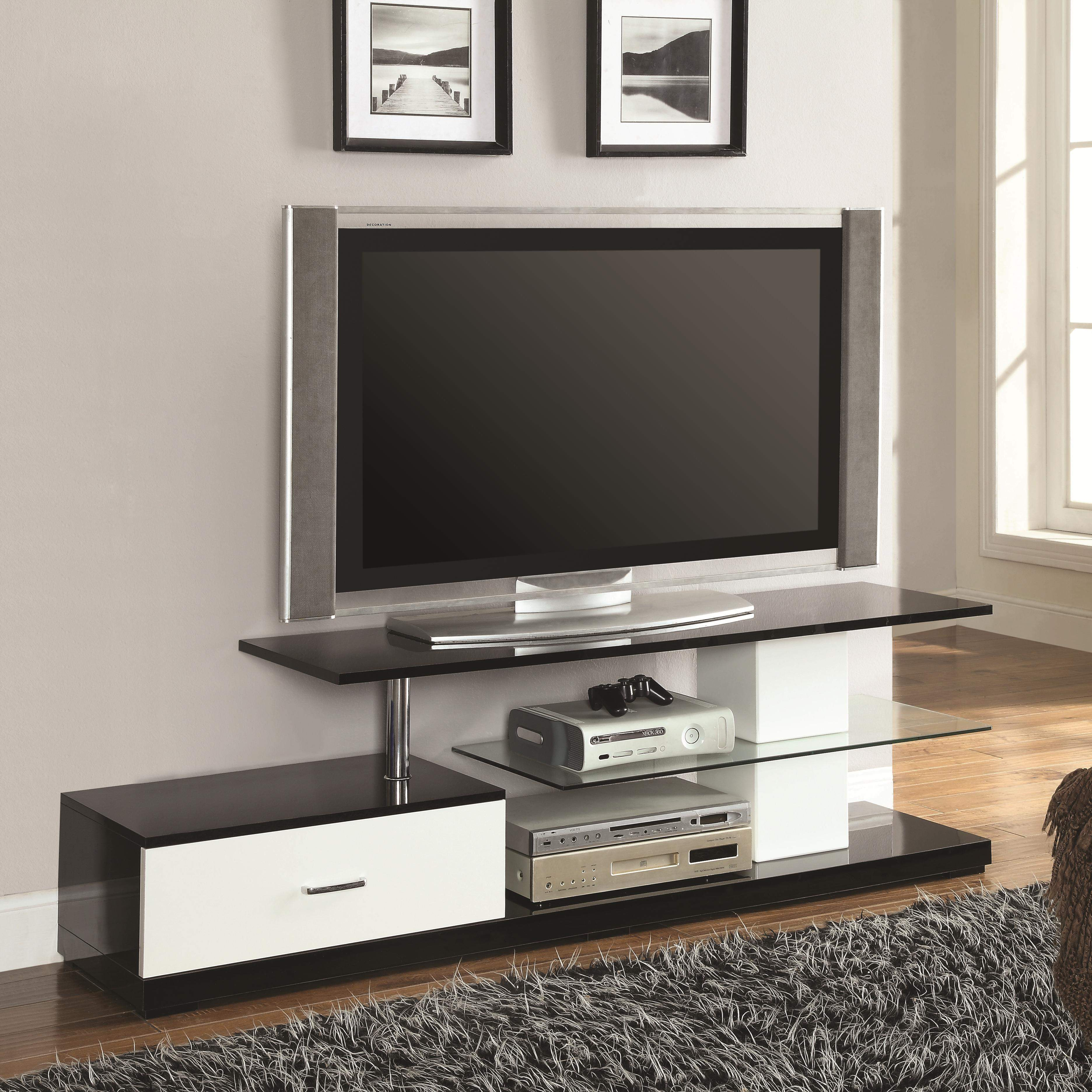 tv stands black silver and white tv stand with drawer and glass rh furniturewares com tv stands clear glass shelves flat screen tv stands glass shelves