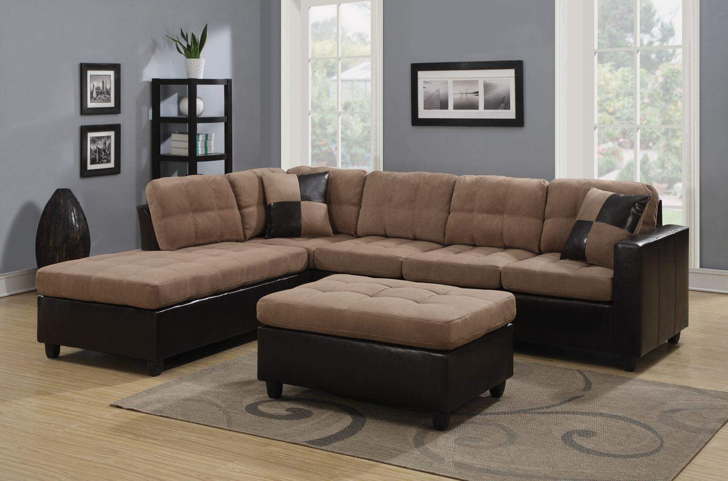 Mallory Reversible Sectional With Casual And Contemporary Style Tan