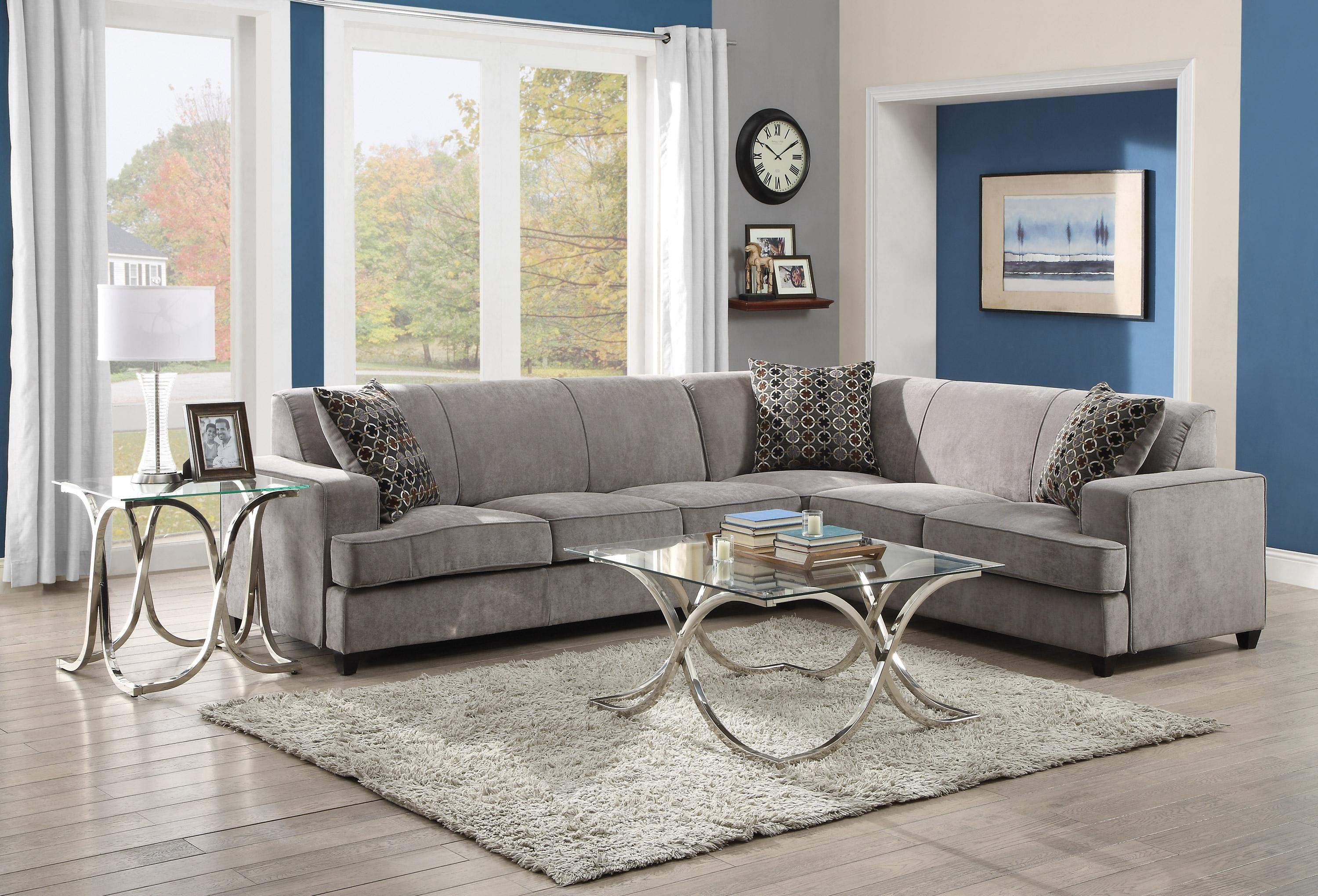 Tess Casual Grey Fabric Sectional Sofa