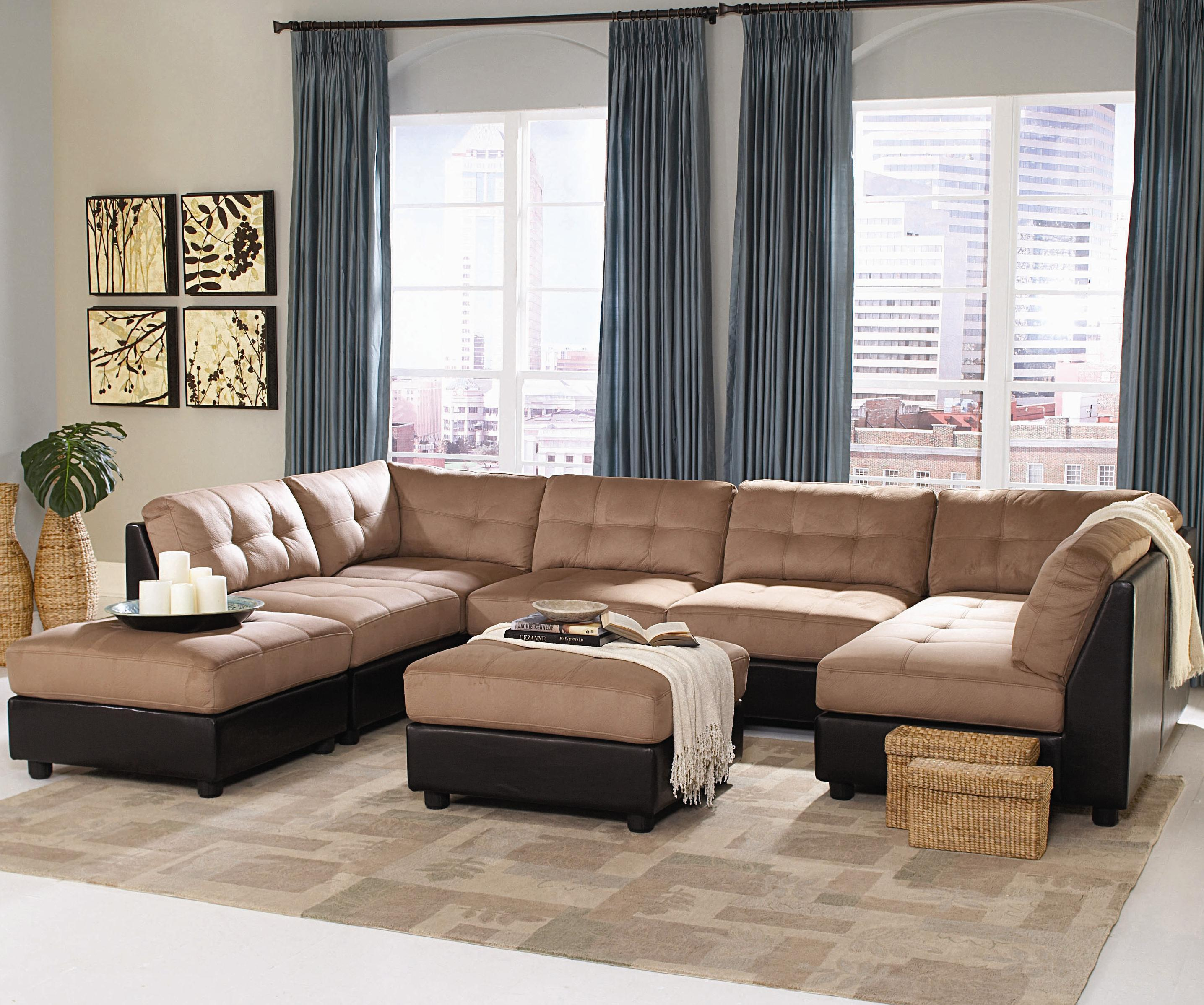 new concept b0933 3aad5 Claude Contemporary Two Tone Sectional Sofa