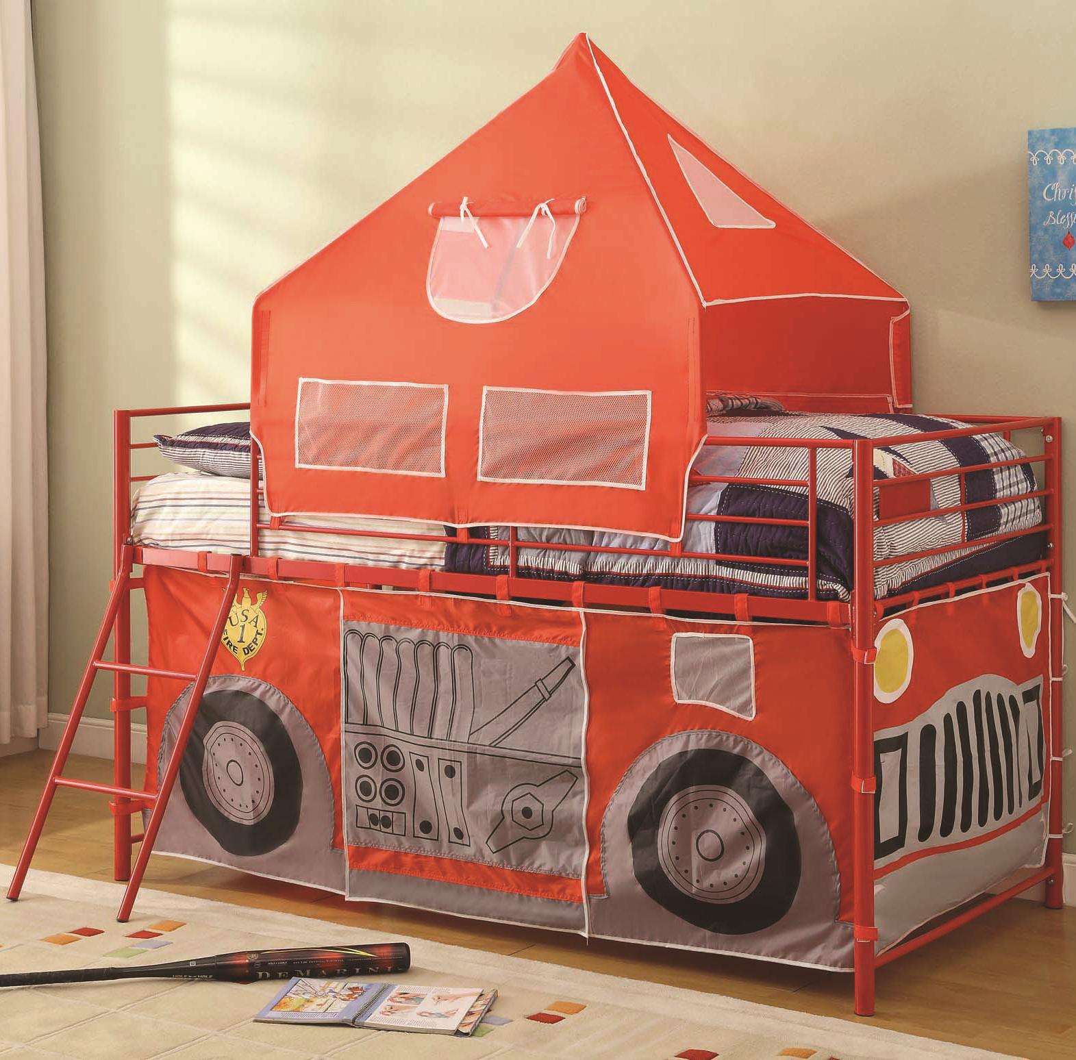 Bunks Twin Fire Engine Loft Bed With Attached Ladder And