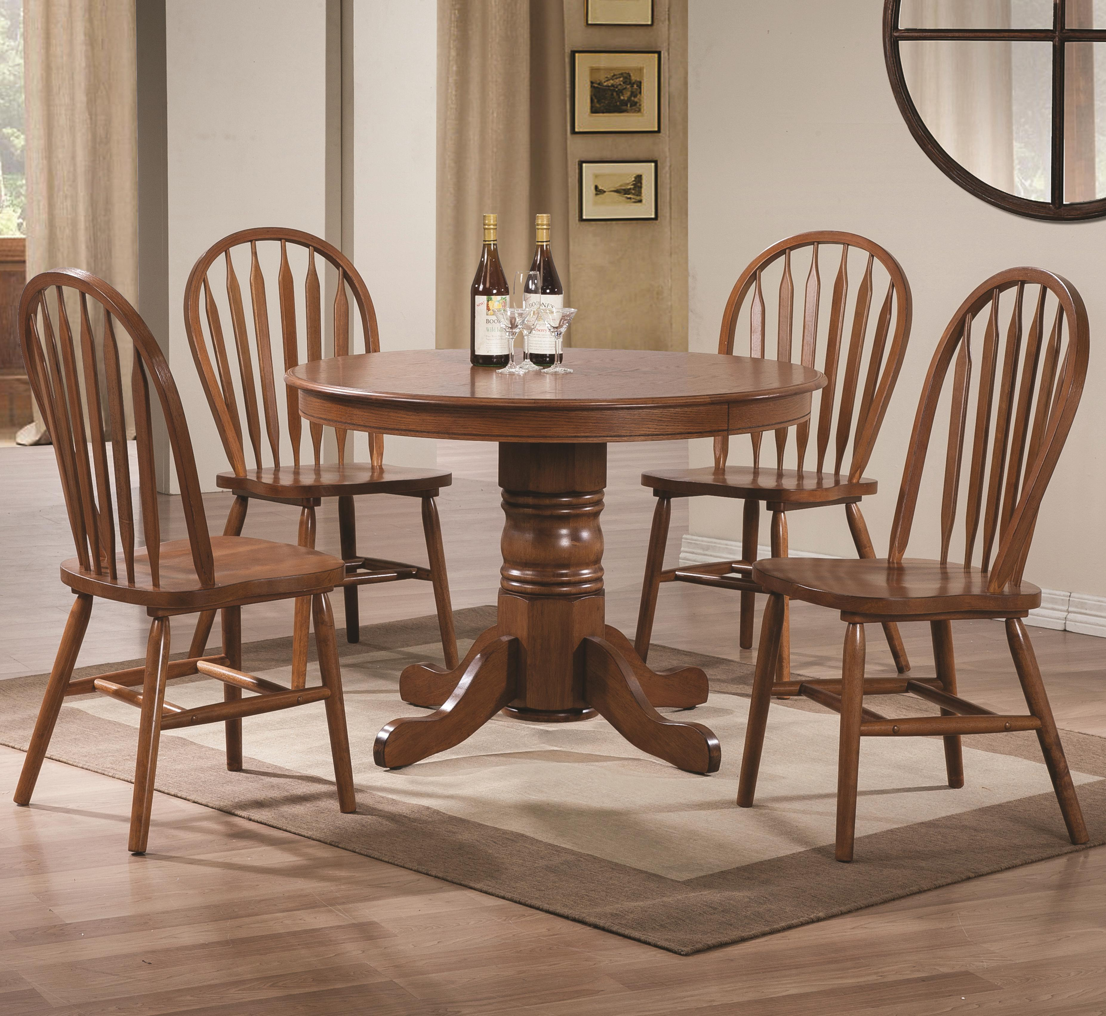 Freda 5 Piece Dining Set With Round Pedestal Table And