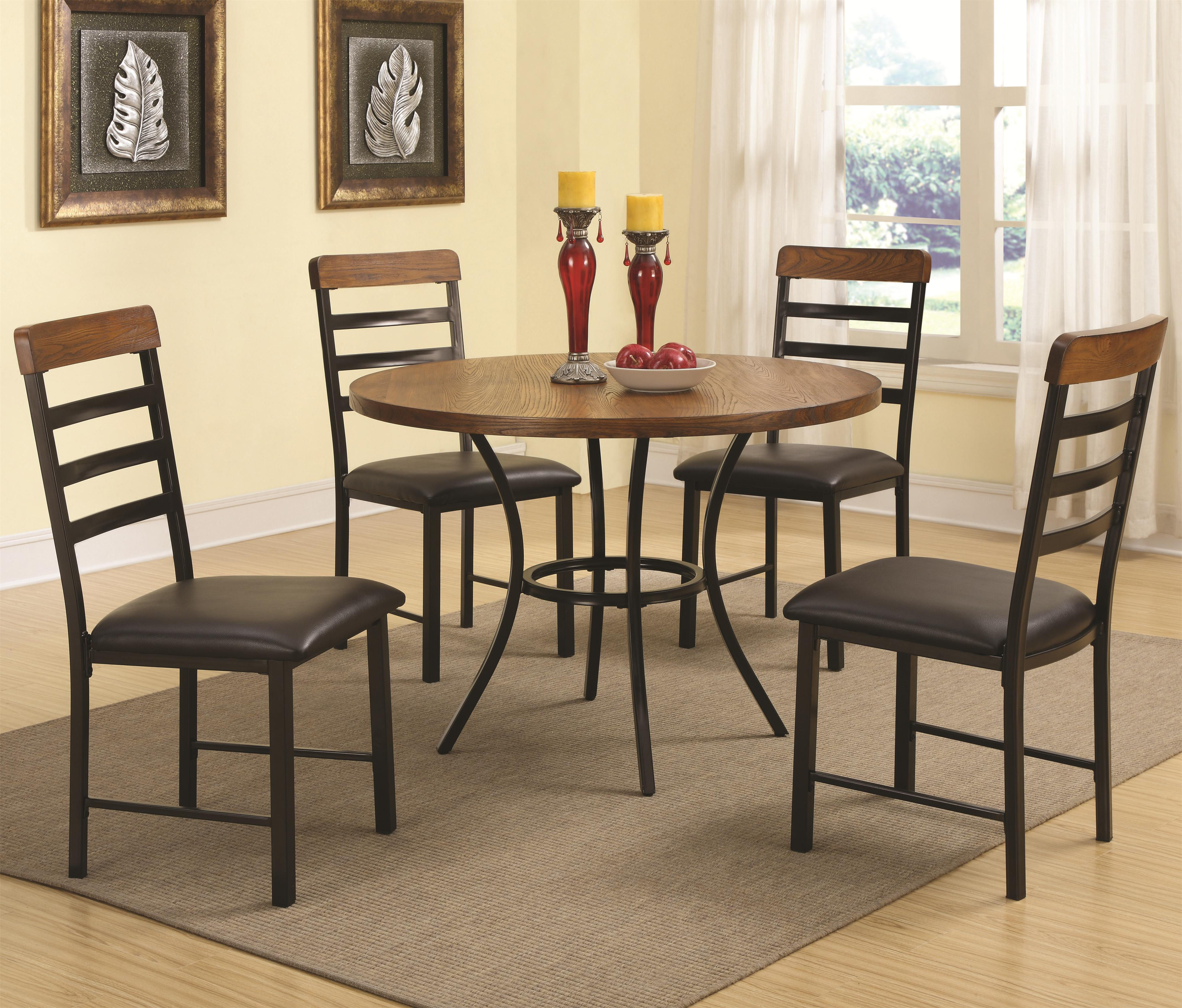 noah 5 piece dining set with round pedestal table and ladderback chairs quality furniture at. Black Bedroom Furniture Sets. Home Design Ideas