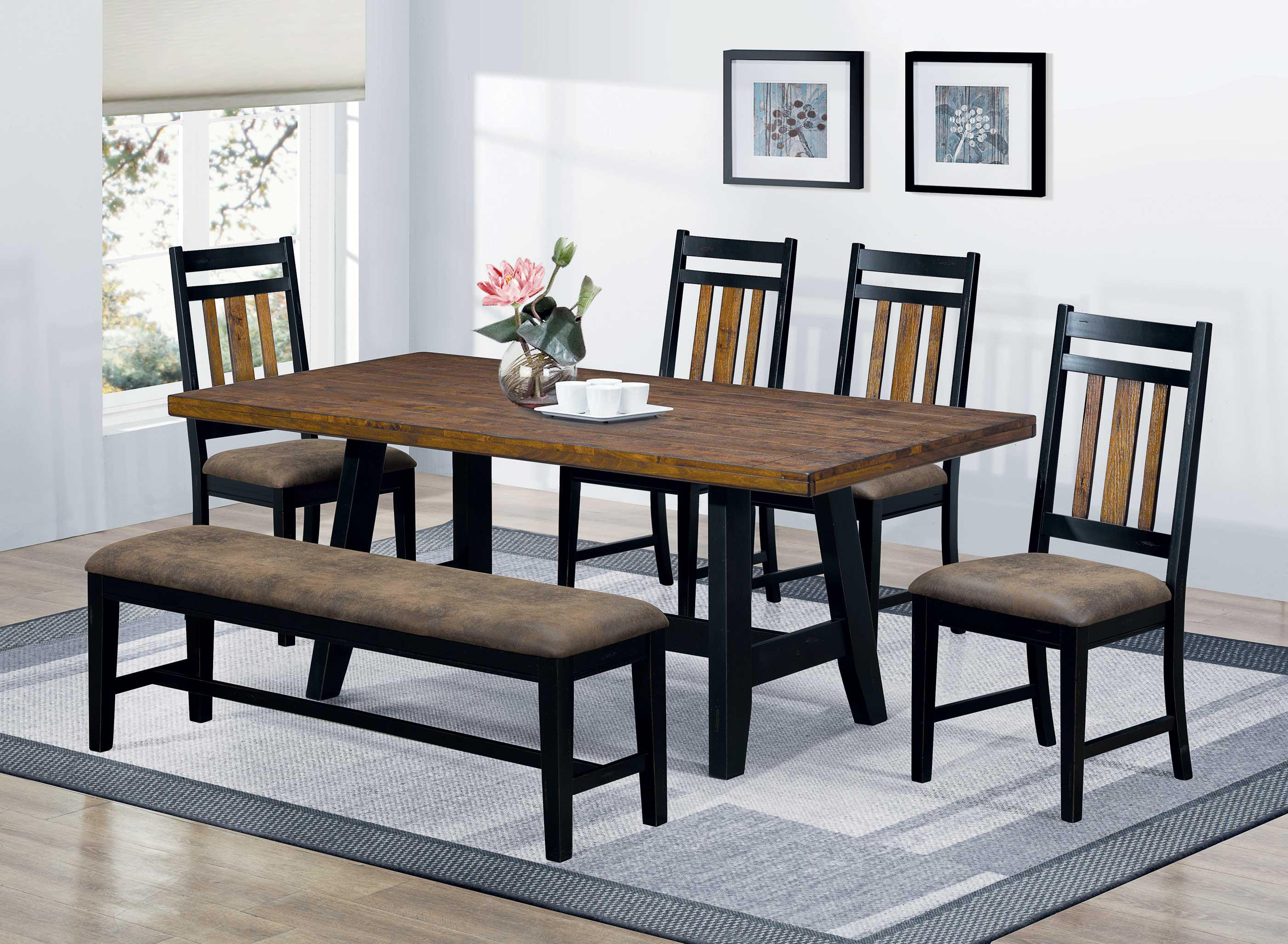 Waller 6 Piece Dining Table Set With Bench And Side Chairs